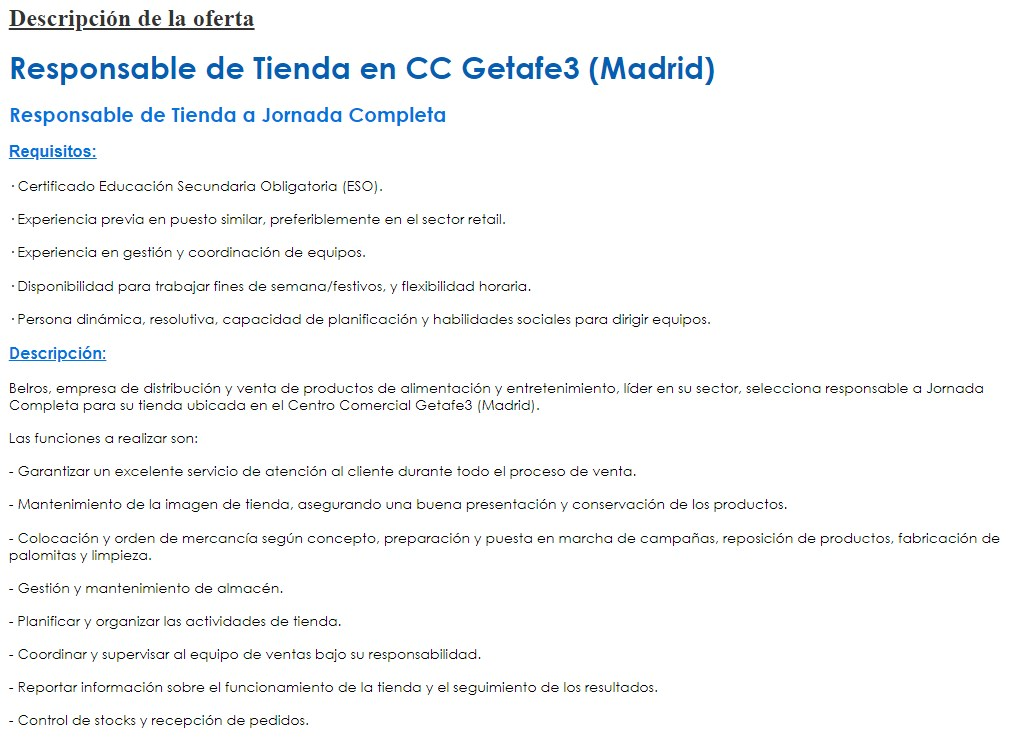 Requisitos para ofertar un empleo