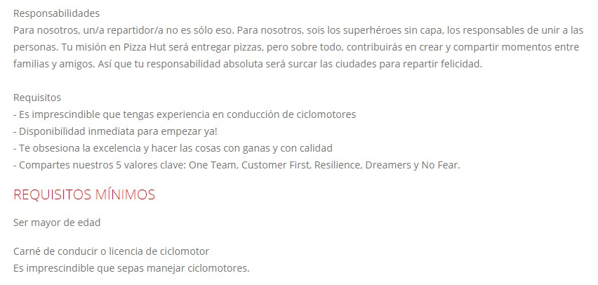 requisitos del cargo en Pizza Hut